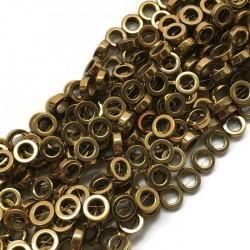 Hematyt kółko 10x4mm złoty sznurek