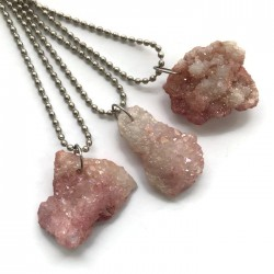 Wisior druza agatowa kamień agat bryłka różowa