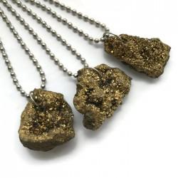 Wisior druza agatowa kamień agat bryłka złota