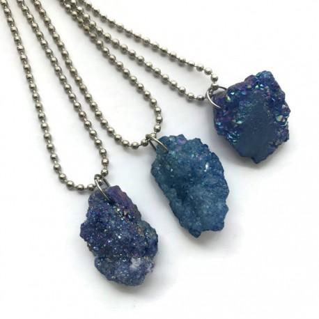 Wisior druza agatowa kamień agat bryłka niebieska