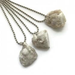 Wisior druza agatowa kamień agat bryłka biała
