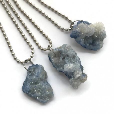 Wisior druza agatowa kamień agat bryłka błękitna