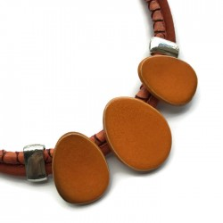Naszyjnik z ceramiki OWAL pomarańczowy