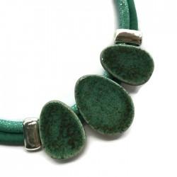 Naszyjnik z ceramiki OWAL zielony turkus