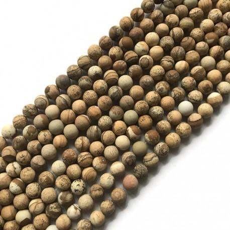 Jaspis obrazkowy kulka 8mm brązowy sznurek
