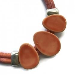 Naszyjnik z ceramiki OWAL jasny pomarańczowy