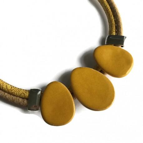 Naszyjnik z ceramiki OWAL żółty