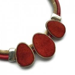 Naszyjnik z ceramiki OWAL czerwony beż