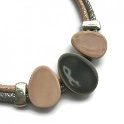 Naszyjnik z ceramiki OWAL różowo - szary