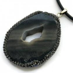 Wisior agat czarny brazylijski plaster w oprawie zł