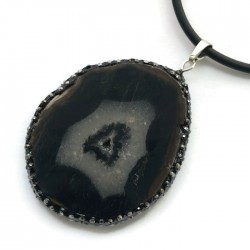 Wisior agat czarny brazylijski plaster w oprawie sr