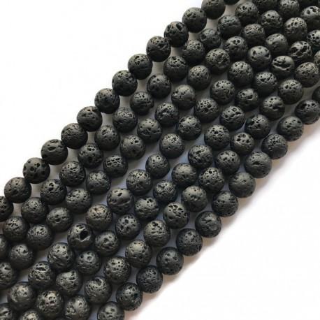 Lawa czarna kulka 6mm sznurek