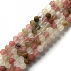 Kwarc kulka 8mm różowy mix sznurek