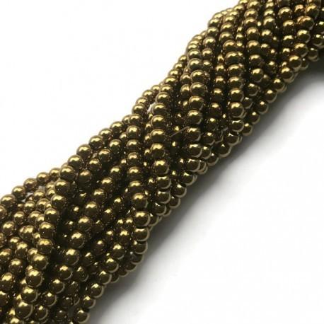 Hematyt kulka 3mm złoty sznurek