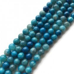 Agat kulka 8mm błękitny sznurek