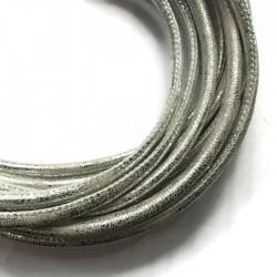 Rzemień szyty 6x7mm-przecierany srebrny