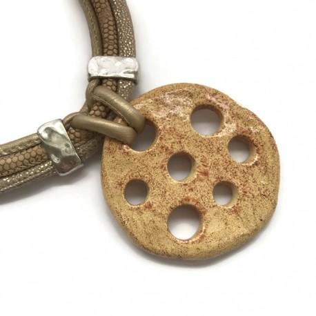 Wisior naszyjnik z ceramiki beż koło