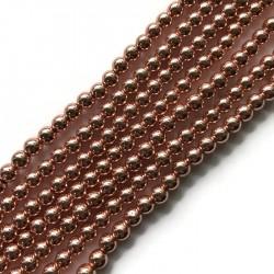 Hematyt kulka 6mm rose gold sznurek