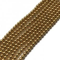 Hematyt kulka 4mm light rose gold sznurek