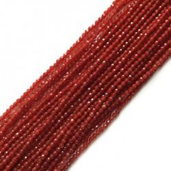 Agat czerwony kulka 3mm sznurek
