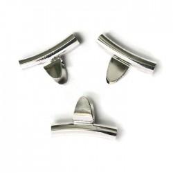 Krawatka języczek wąski z rurką kolor srebrny PL