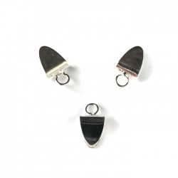 Krawatka języczek wąski z kółeczkiem kolor srebrny PL