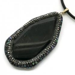 Wisior agat czarny brazylijski plaster faset w oprawie zł