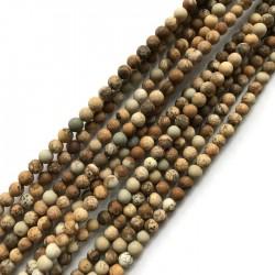Jaspis krajobrazowy kulka 4mm szary sznurek