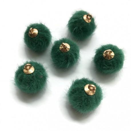 Pompony z zawieszką zielone 17x14mm