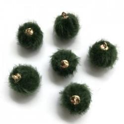 Pompony z zawieszką ciemno zielone 17x14mm