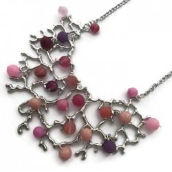 Naszyjnik Drzewo z kamieniami różowymi