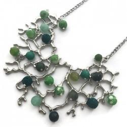 Naszyjnik Drzewo z kamieniami zielonymi