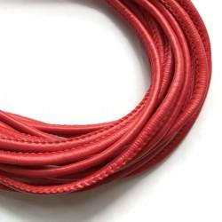 Rzemień szyty 4x6mm-czerwony