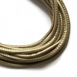 Rzemień szyty 4x6mm-jasno złoty