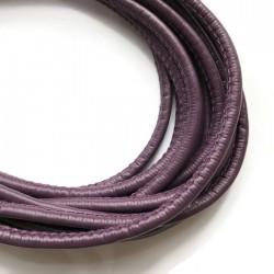 Rzemień szyty 4x6mm-ciemny fiolet