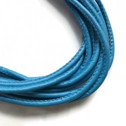 Rzemień szyty 4x6mm-ciemno niebieski