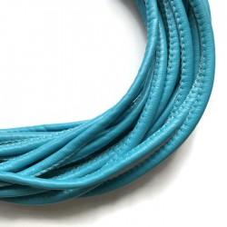 Rzemień szyty 4x6mm- niebieski