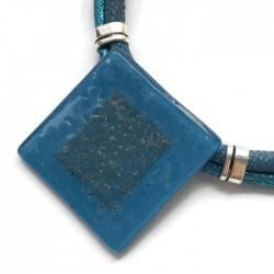 Naszyjnik szkło fusing niebieski