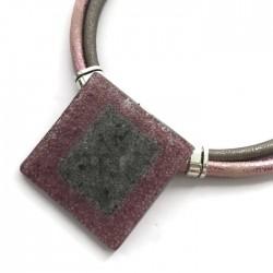 Naszyjnik szkło fusing różowo - szary