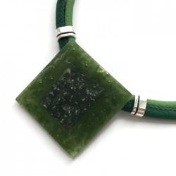 Naszyjnik szkło fusing zielony