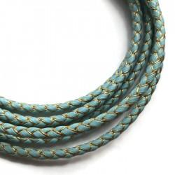 Rzemień syntetyczny pleciony 5mm - złoto-błękitny