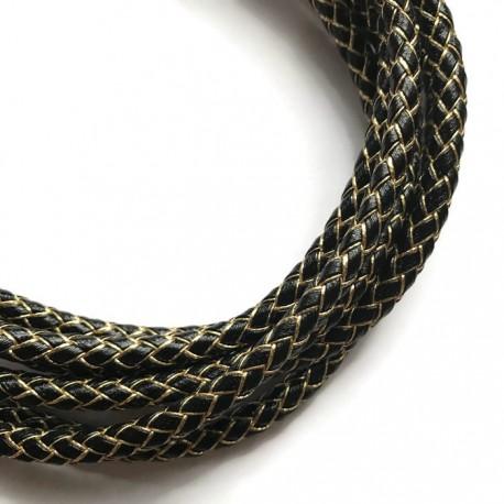 Rzemień syntetyczny pleciony 5mm - złoto-czarny