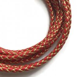 Rzemień syntetyczny pleciony 5mm - złoto-czerwony