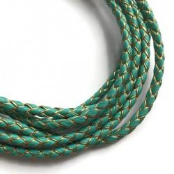 Rzemień syntetyczny pleciony 5mm - złoto-zielony