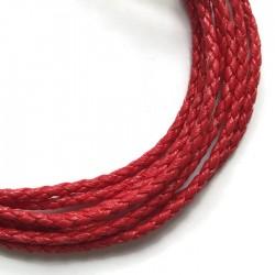 Rzemień syntetyczny pleciony 3mm - czerwony