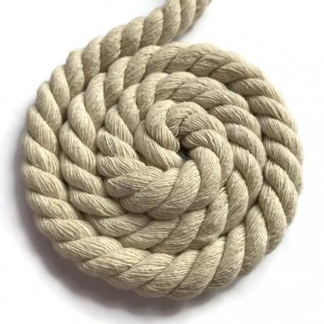 Sznurek sznur lina skręcana bawełna 10mm ecru