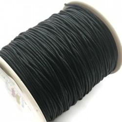 Sznurek bawełniany woskowany 1mm - czarny