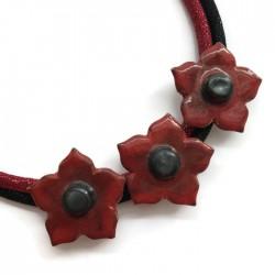 Naszyjnik z ceramiki kwiaty, czerwone