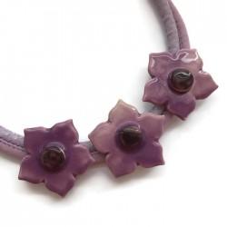 Naszyjnik z ceramiki kwiaty, fioletowy