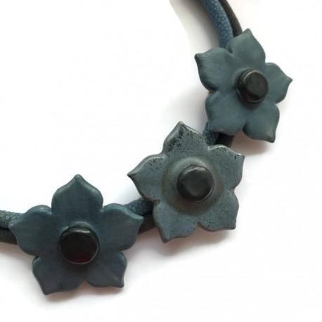 Naszyjnik z ceramiki kwiaty, morski